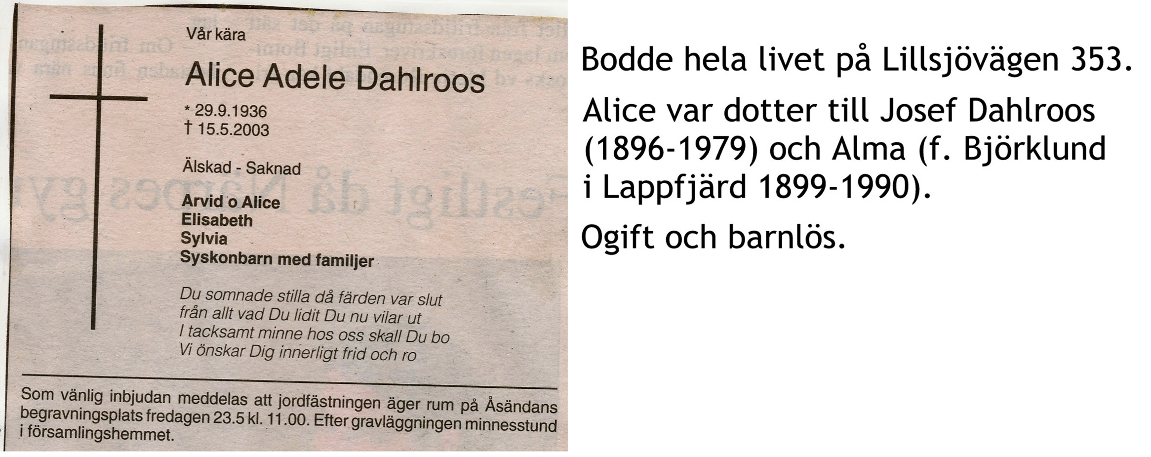 Dahlroos Alice Adele