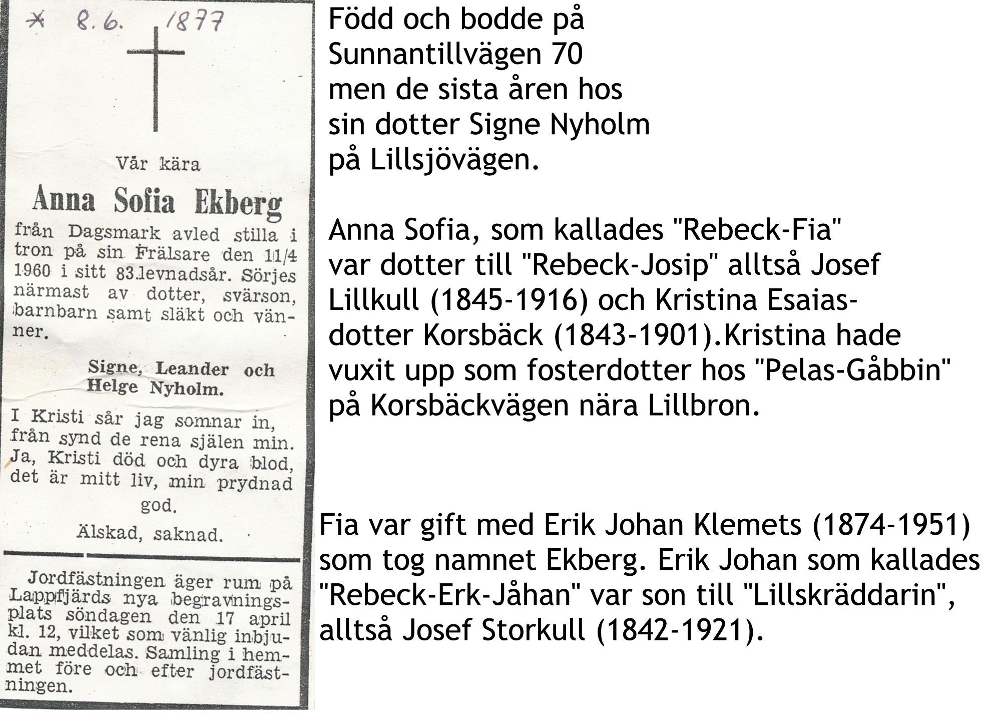 Ekberg Fia, Anna Sofia
