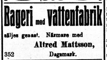 """I mars 1919 bjuder Alfred ut sitt bageri med """"vattenfabrik"""" i tidningen Syd-Österbotten. Någon försäljning blev det dock inte denna gång."""