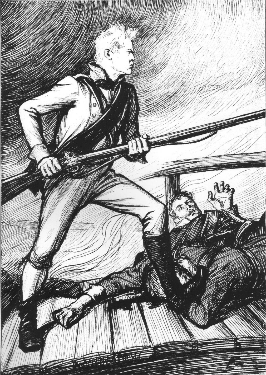 Runeberg skrev och Albert Edelfelt ritade den populära soldaten Sven Duva, som inte släppte någon över bron.