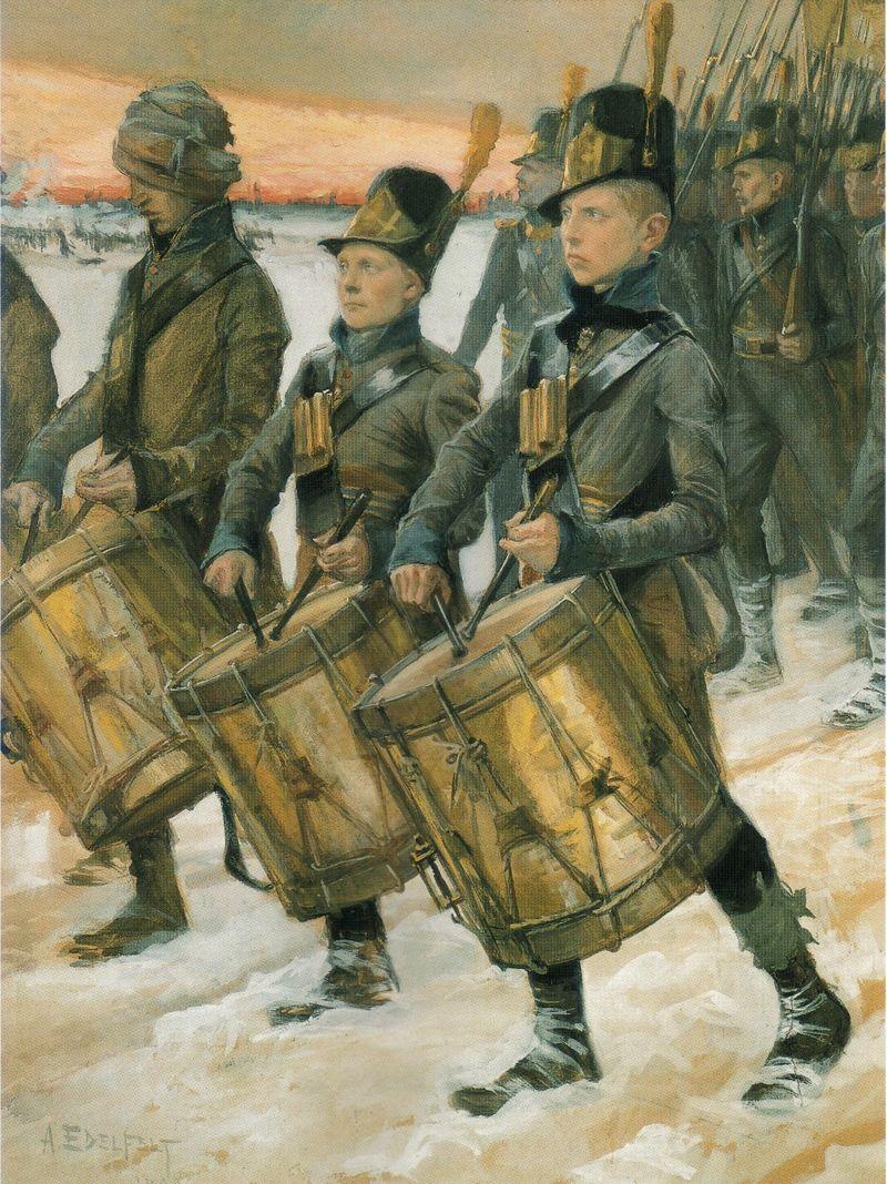 """Albert Edelfelts akvarell """"Björneborgarnas marsch"""" från 1900 visar en del av de svensk-finska trupperna under det Finska kriget 1808-09."""