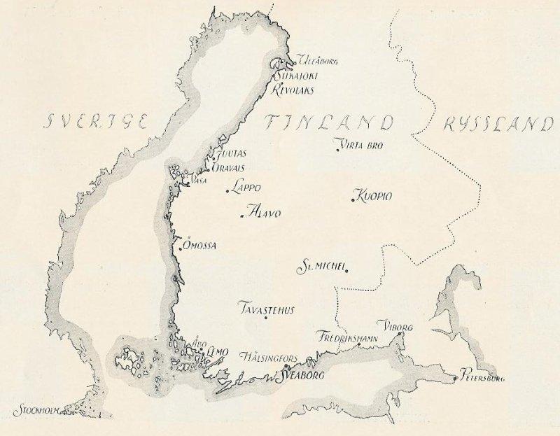 På kartan syns de viktigaste orterna i Finland under det Finska kriget 1808-09.