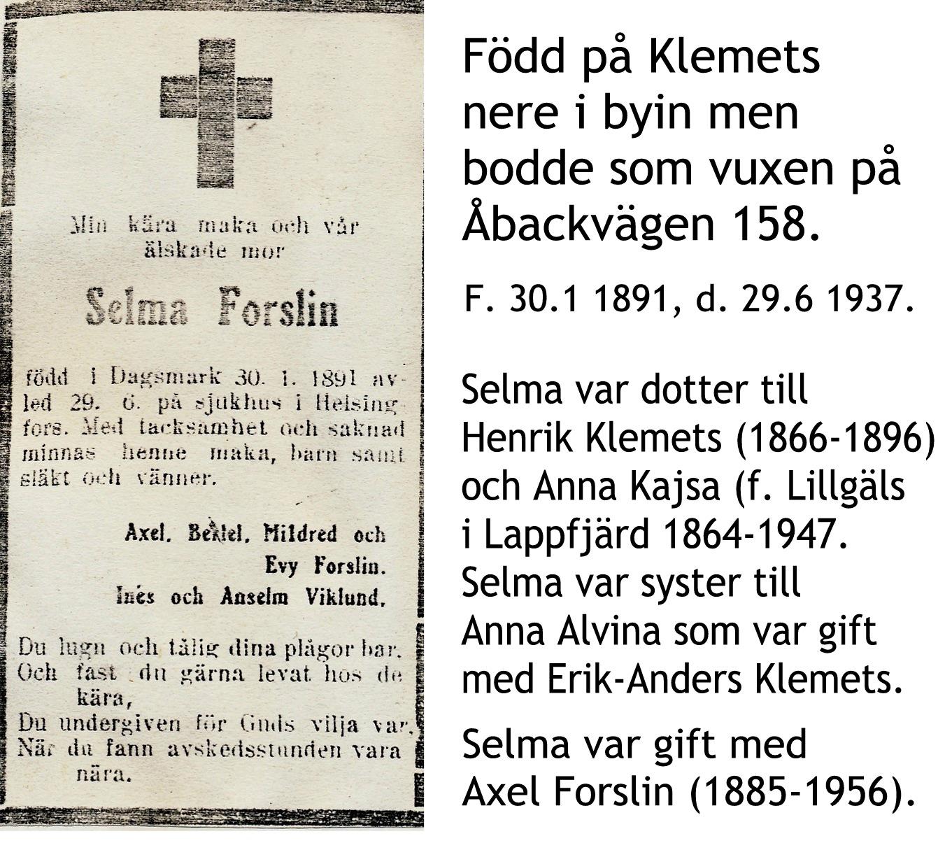 Forslin Selma
