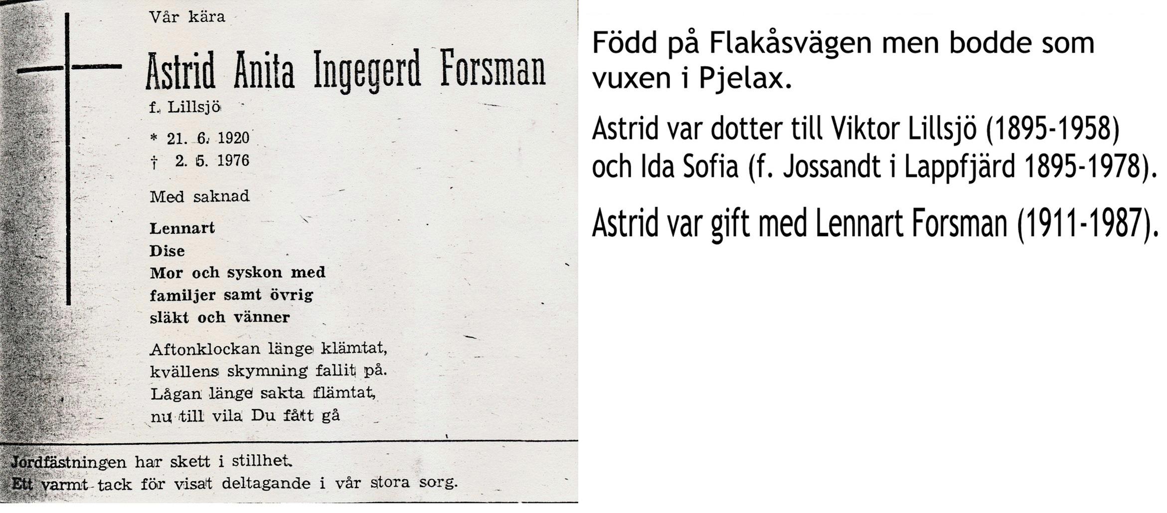 Forsman Inga, f. Lillsjö