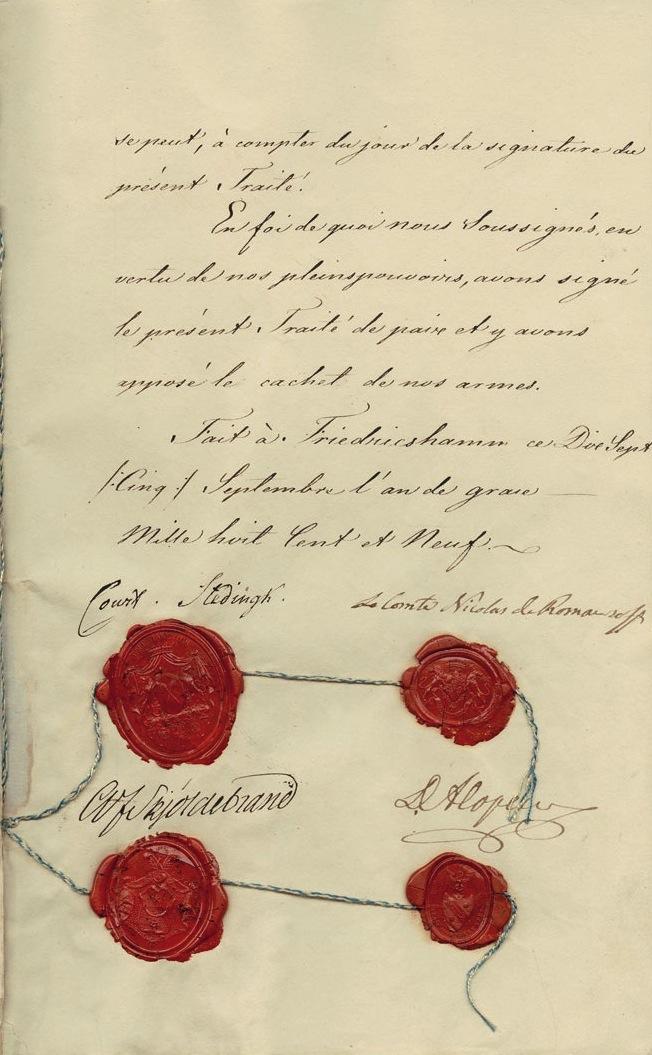 Fredsavtalet mellan Ryssland och Sverige skrevs i Fredrikshamn den 17 september 1809. Det skrevs på franska och undertecknades av Anders Fredrik Skjöldebrand och Curt von Stedingk från Sverige och Nikolaj Rumtjantev och David Alopaeus från Ryssland. I och med detta fredsavtal skildes Finland från Sverige för gott.
