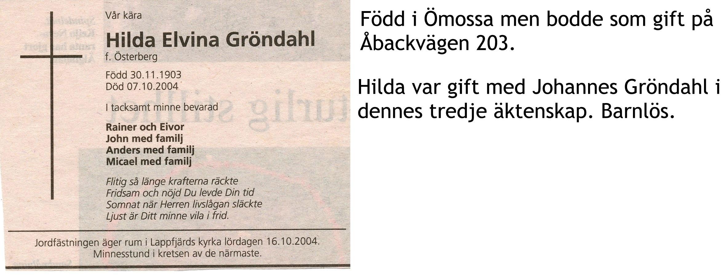 Gröndahl Hilda Elvina