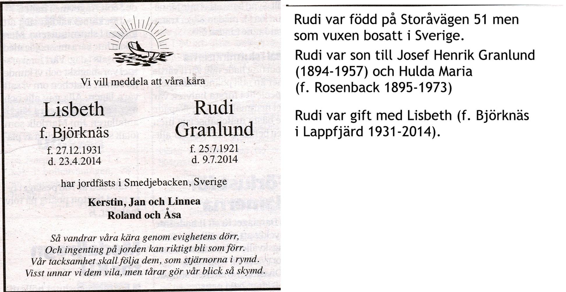 Granlund Rudi och Lisbeth