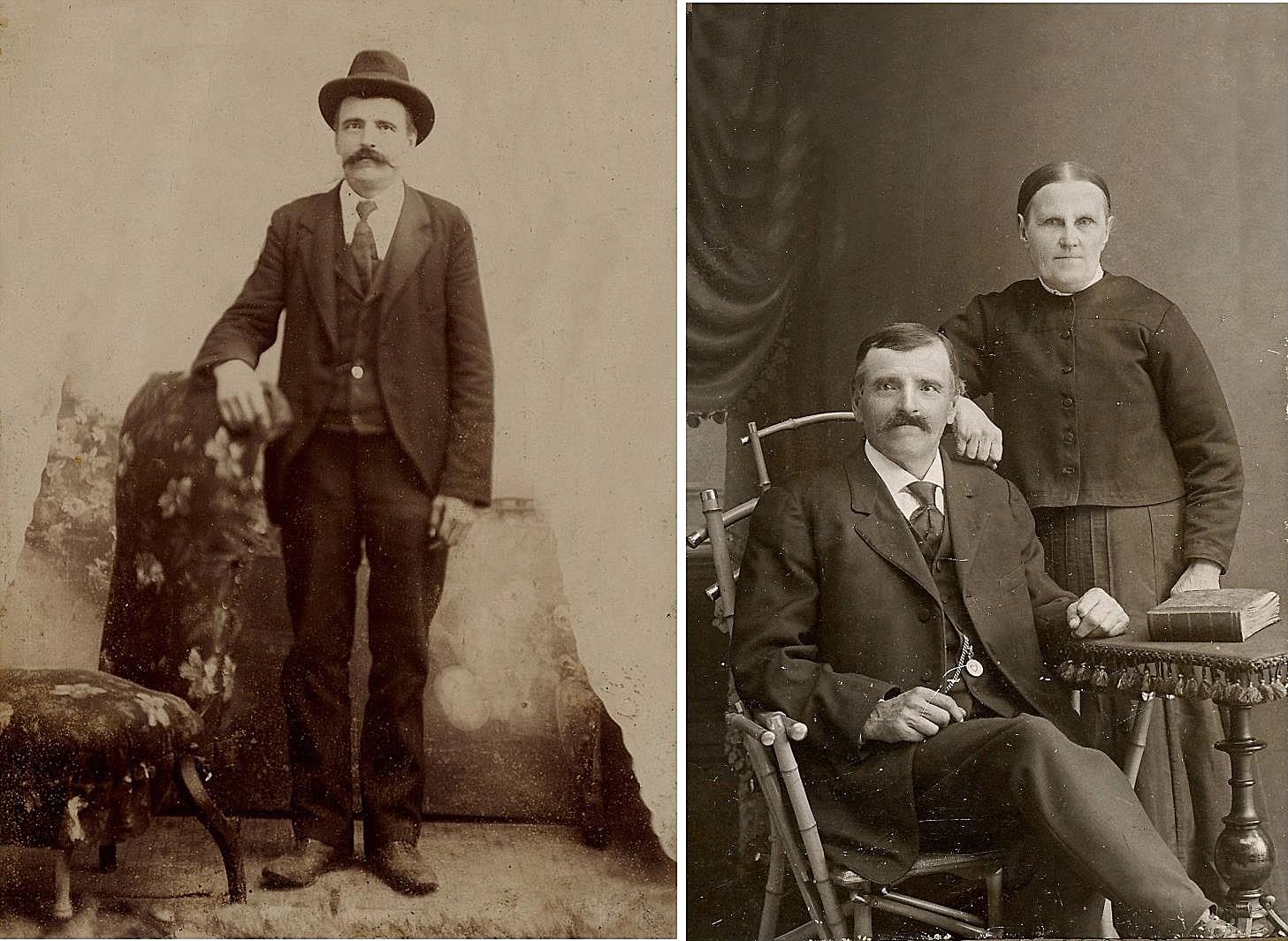 På fotot till vänster Erik Rosenback, då han vistades i Boston i Amerika. På fotot till höger sitter Erik i stolen och hustrun Maria står bakom.