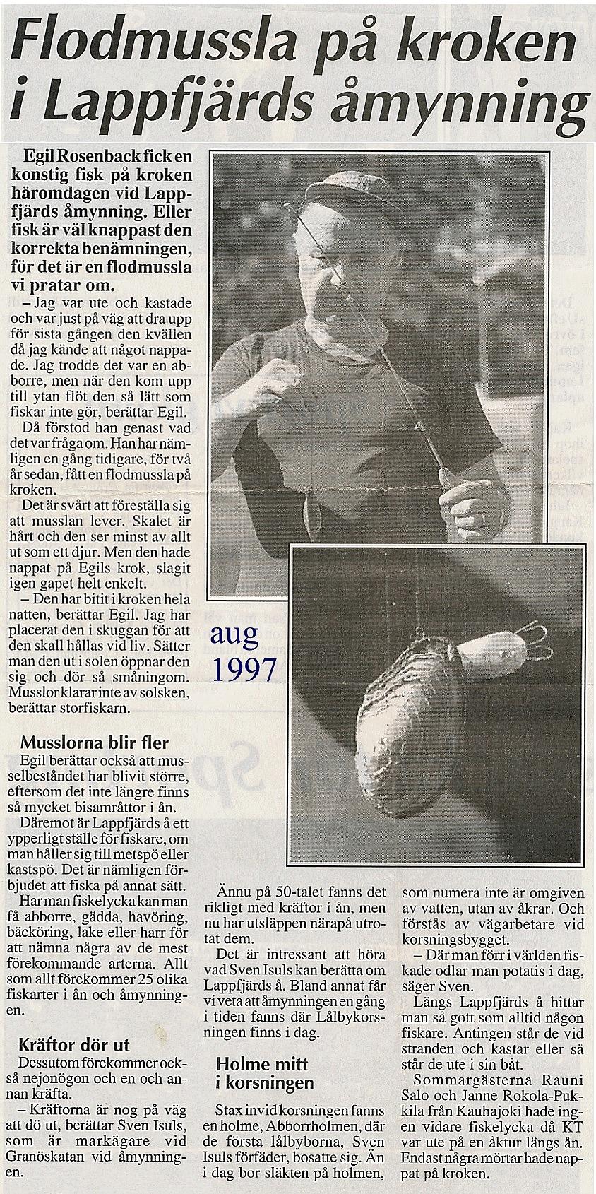 Tidningsartikel från augusti 1997.
