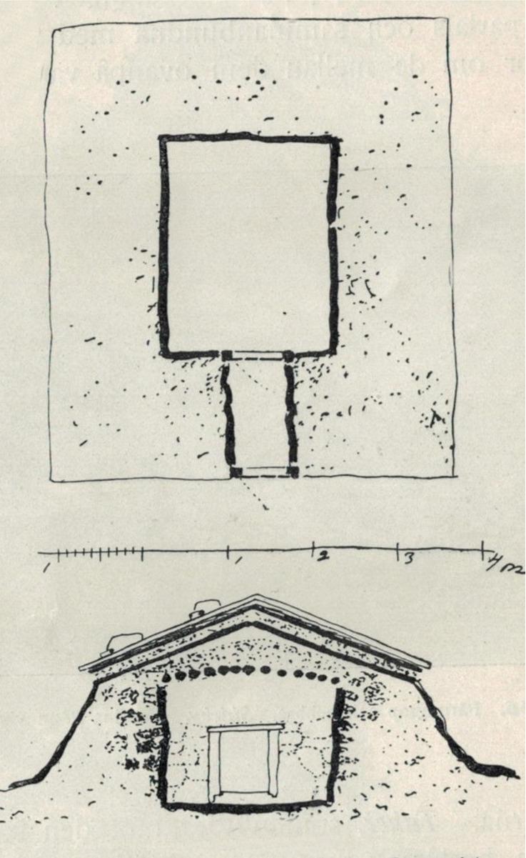 Här två skisser av Josefina Rönnqvist pärungrop i Sideby. Övre bilden visar gropen uppifrån och på den undre ser vi hur gropen såg ut framifrån.