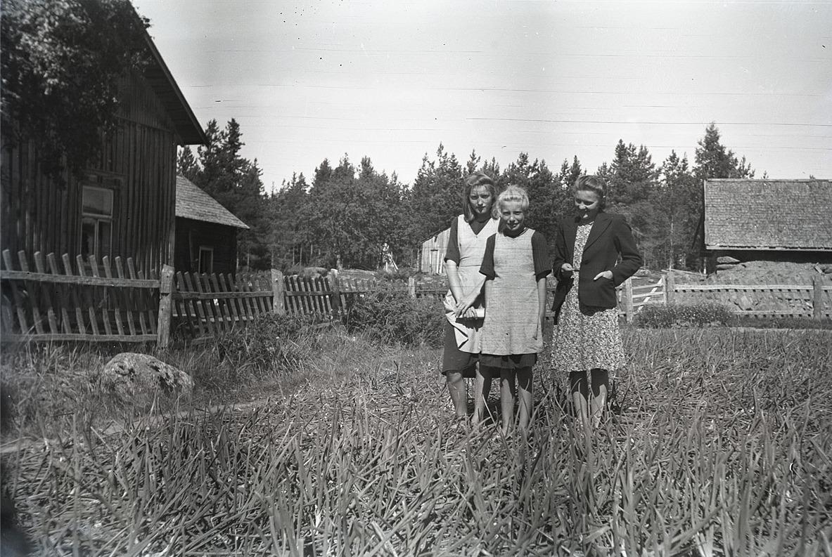 Klubbledaren Karin Andtfolk på besök hos systrarna Holmberg, som visar upp sitt lökland.