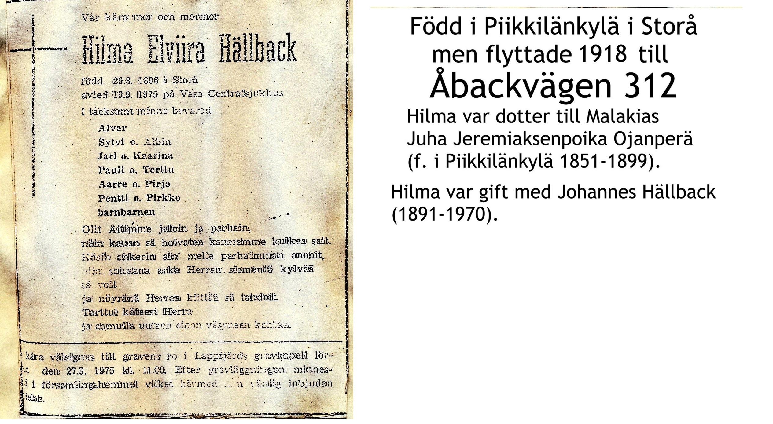 Hällback Hilma Elviira