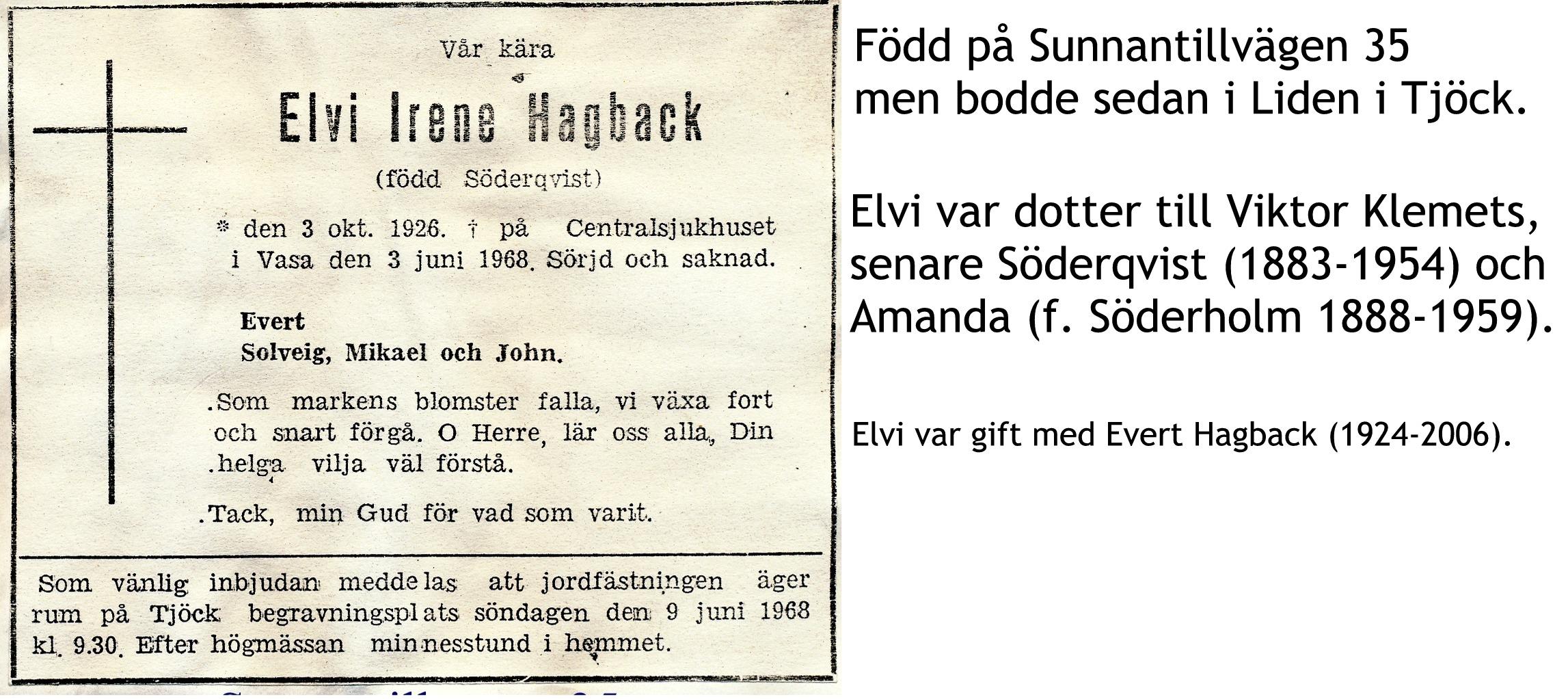 Hagback Elvi, f. Söderqvist
