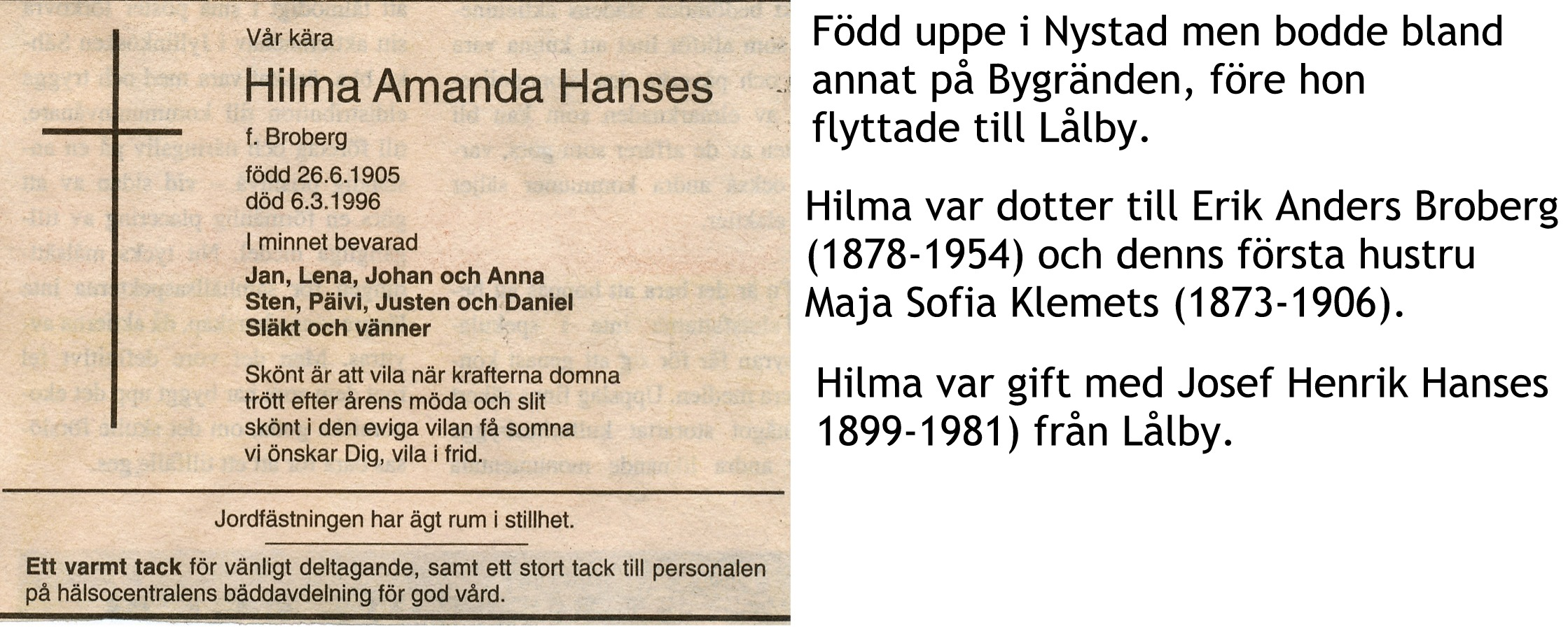 Hanses Hilma Amanda, f Broberg