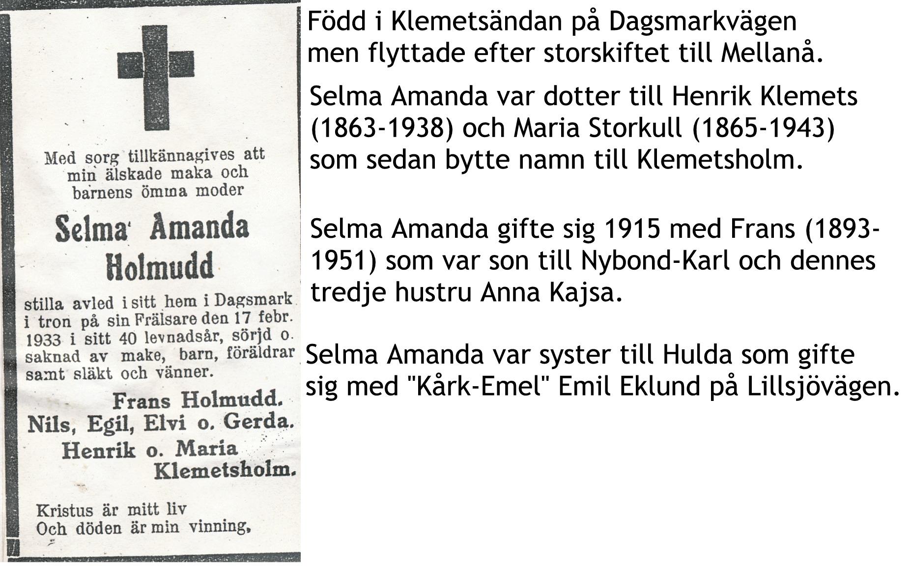Holmudd Selma Amanda