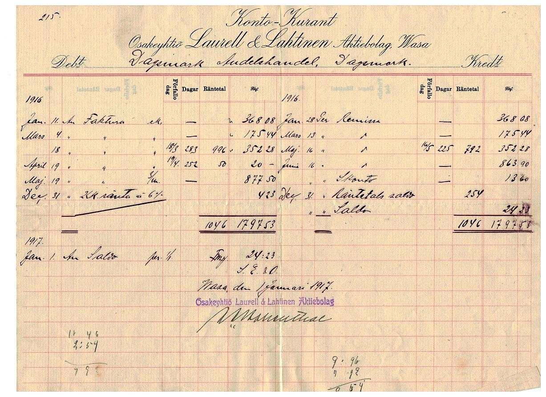 Oy Laurell & Lahtinen Ab i Vasa skickade denna Konto-Kurant över Andelshandelns inköp under år 1916.