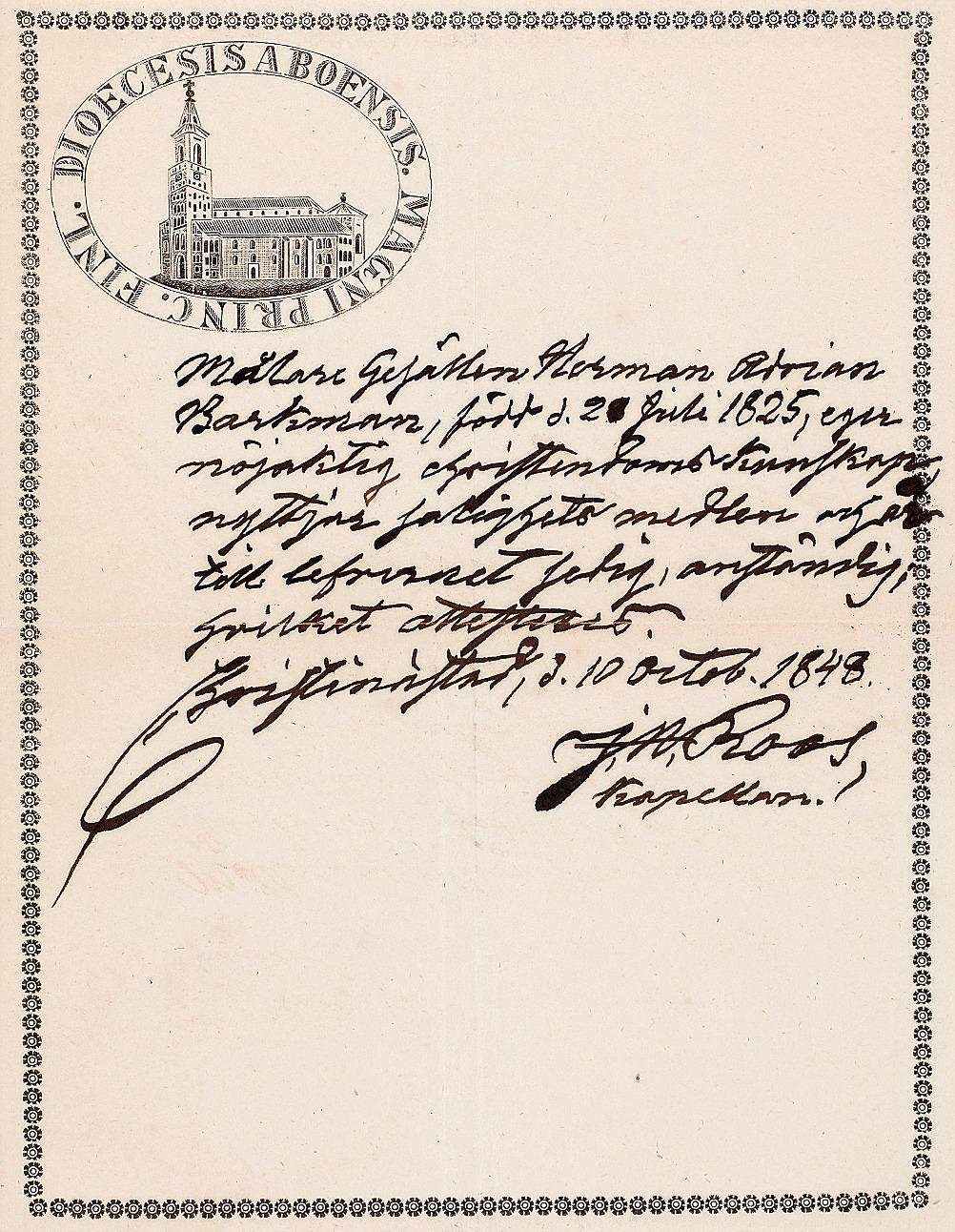 Kaplanen Roos rekommenderar målargesällen Herman Adrian Barkman, i Christinestad 1848. Brevet finns i Finska konstföreningens arkiv.