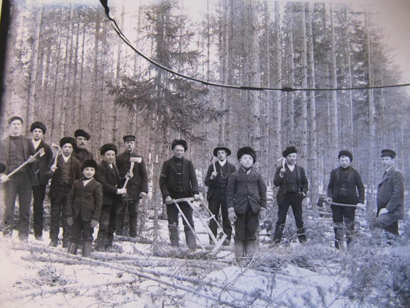 Här kursdeltagarna på en skogsskötarkurs på Byåsen, fotograferade av Viktor Nylund år 1912.