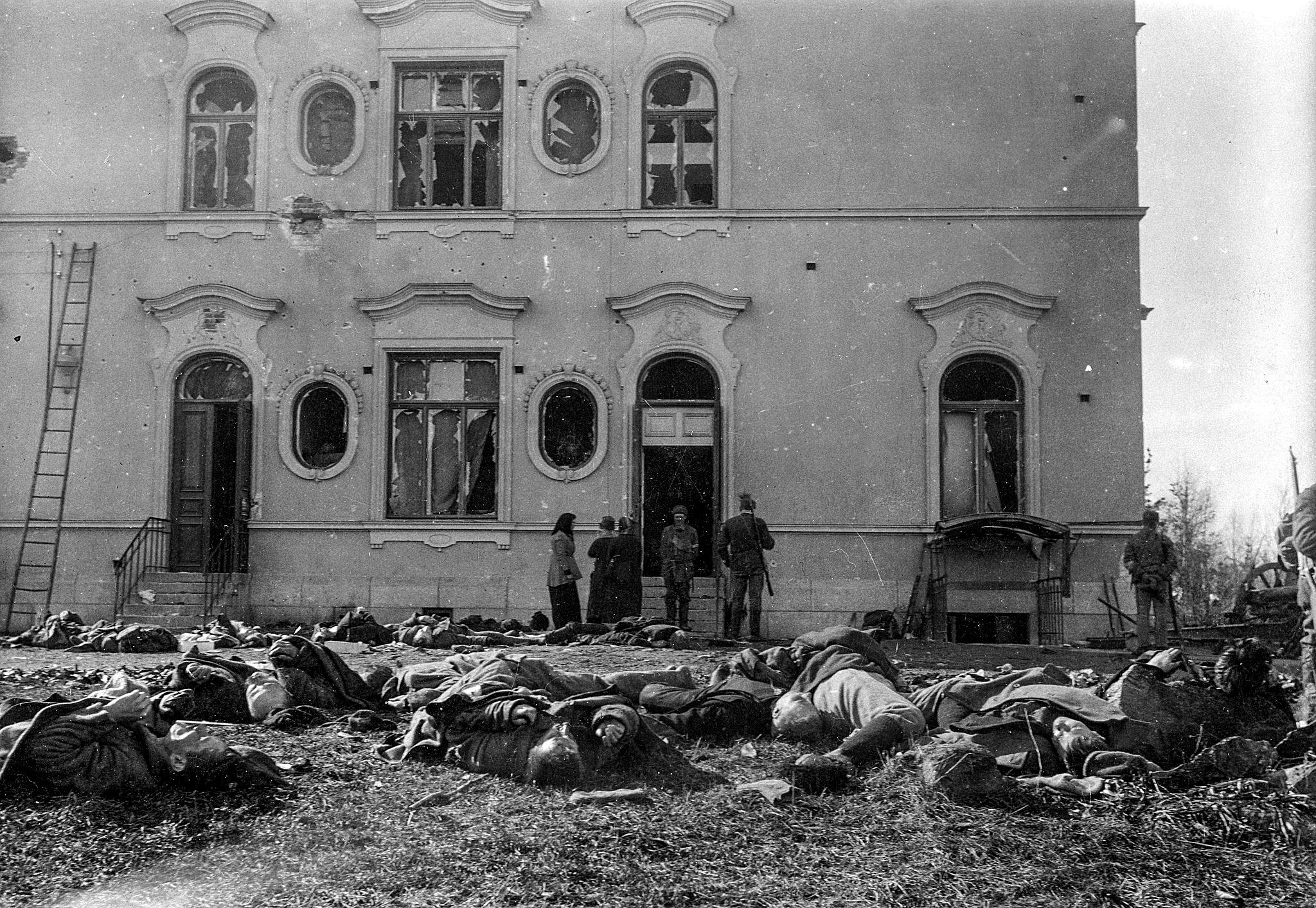Stora mängder rödgardister dödades utanför Näsilinna under den dag då Melins kompani hade intagit det.