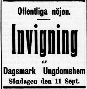 Invigningsannonsen i Syd-Österbotten den 10 september 1910.