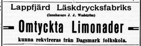 11 juni 1910 annonserade Wadström så här i Syd-Österbotten.