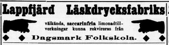 10 juni 1911 annonserade Wadström i tidningen Syd-Österbotten då han bjöd ut saccarinfria limonadtillverkningar.