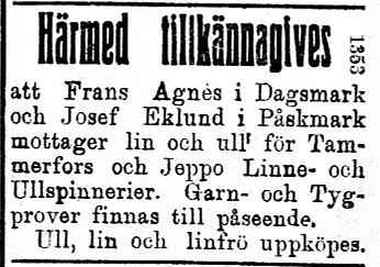 Den 30 september 1922 var denna annons införd i Syd-Österbotten.