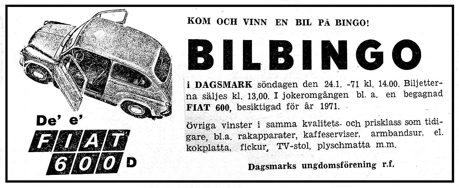 Bilbingoannons införd i Syd-Österbotten 1971.