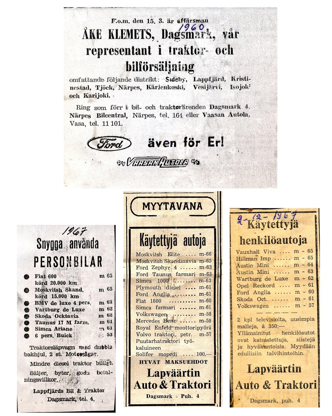 Åke Klemets annonserade flitigt i de lokala tidningarna på 1960-talet. År 1960 blev han till och med områdesrepresentant för Fords personbilar och traktorer.