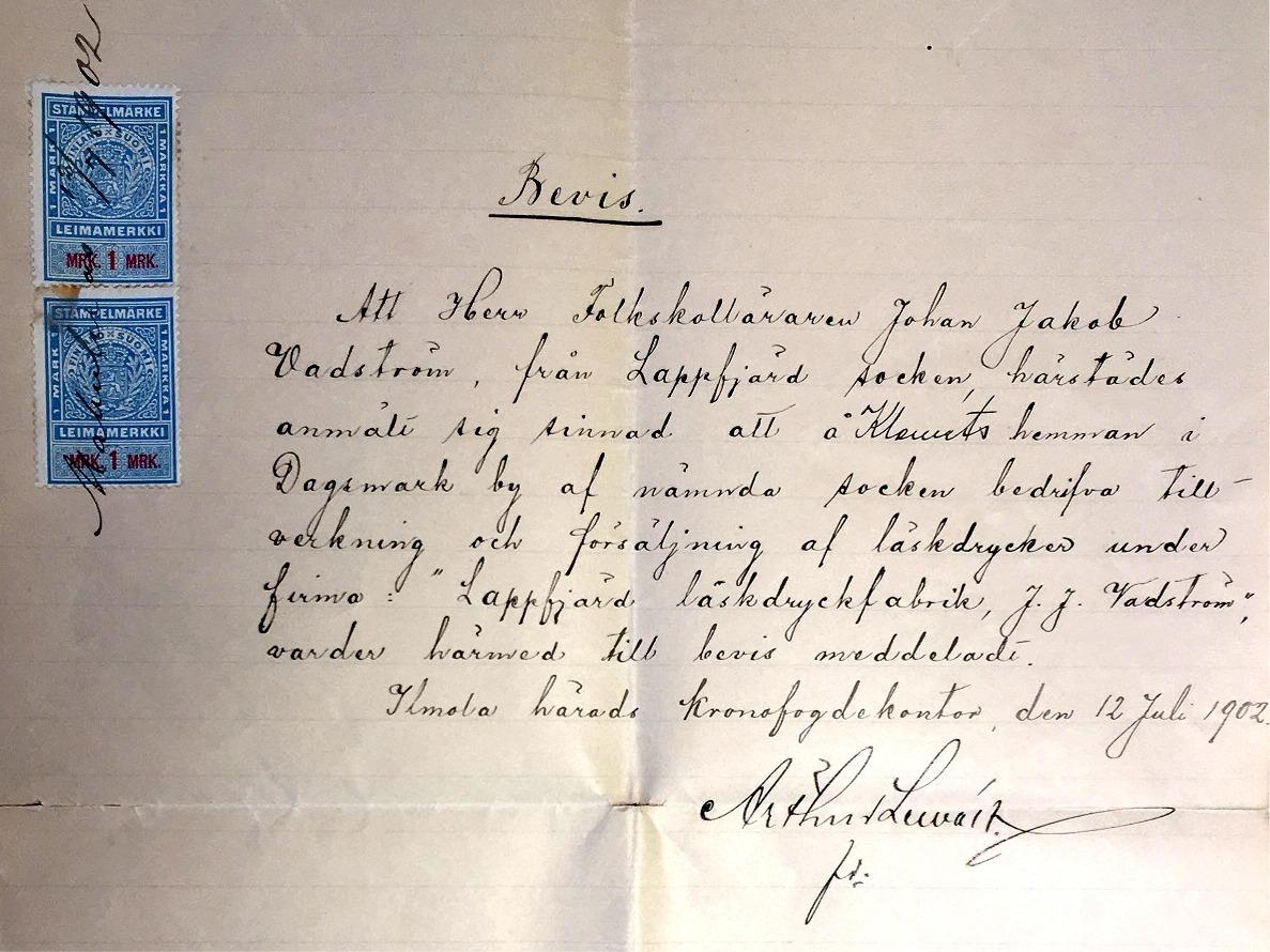 Arthur Lewans bevis åt Wadström