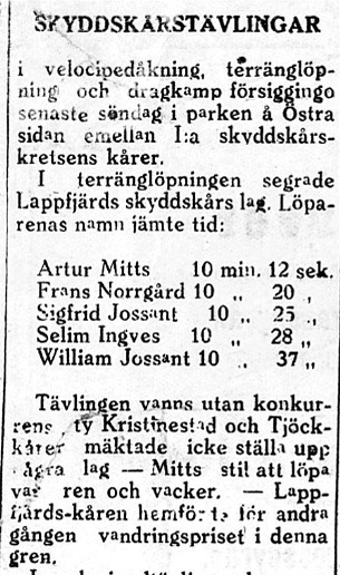 4.7.1923 skrev tidningen Syd-Österbotten om tävlingarna. Intresset hade svalnat och Lappfjärds skyddskår var enda deltagare och fick den andra inteckningen. Eftersom Artur Mitts vann - och hans löpstil var ren och vacker - så fick han ta hand om vandringspriset. Efter 95 år har vandringspriset nu kommit till ett nytt hem.