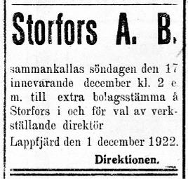 I december 1922 hade delägarna fått nog av den gamla VD:n och sammankallades till en extra stämma för att utse en ny.