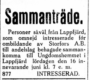 I juni 1923 gjordes det försök att ombilda aktiebolaget till andelslag, säkerligen med avsikt att rädda bolaget. Initiativet ledde inte till några åtgärder.