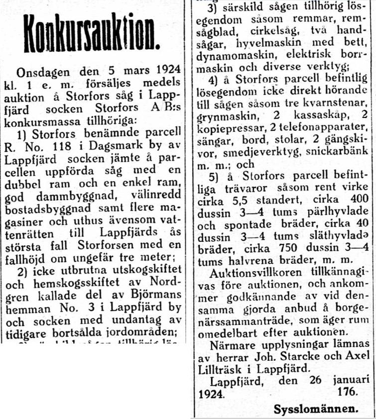 I början på februari 1924 annonserade sysslomännen i Syd-Österbotten att allt lösöre och fastigheten skulle säljas på auktion.