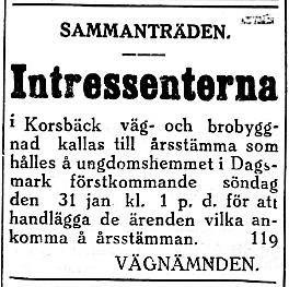 27.1. vägen till Korsbäck var den tiden privat och både den och bron skulle underhållas av intressenterna.