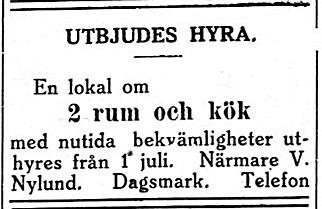 19.6 Viktor Nylund bjuder ut rum, troligen i den nya gården som han hade byggt på Östra sidan i Kristinestad.