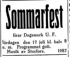 14.7 Syd-Österbotten. Musik av kantorn Otto Storfors, som var en mycket populär artist den tiden.