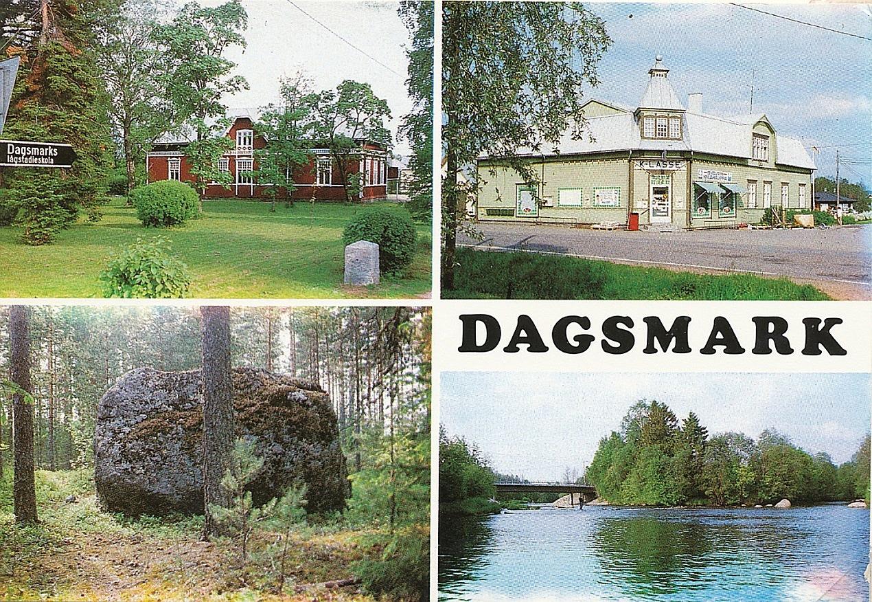 Här vykortet från Dagsmark. Foto: John Hammarberg. Tryckt på Painotalo Varteva i Vasa.