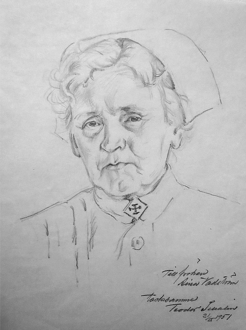 Det här porträttet fick Aina Wadström då hon 1951 gick i pension från sin tjänst som översköterska vid sinnessjukhuset i Roparnäs.