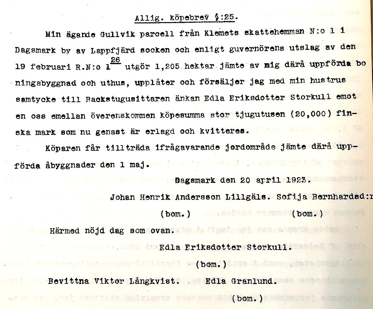 Kopia av köpebrevet då Edla Storkull den 20 april 1923 köpte Gullvik parcell med alla byggnader.