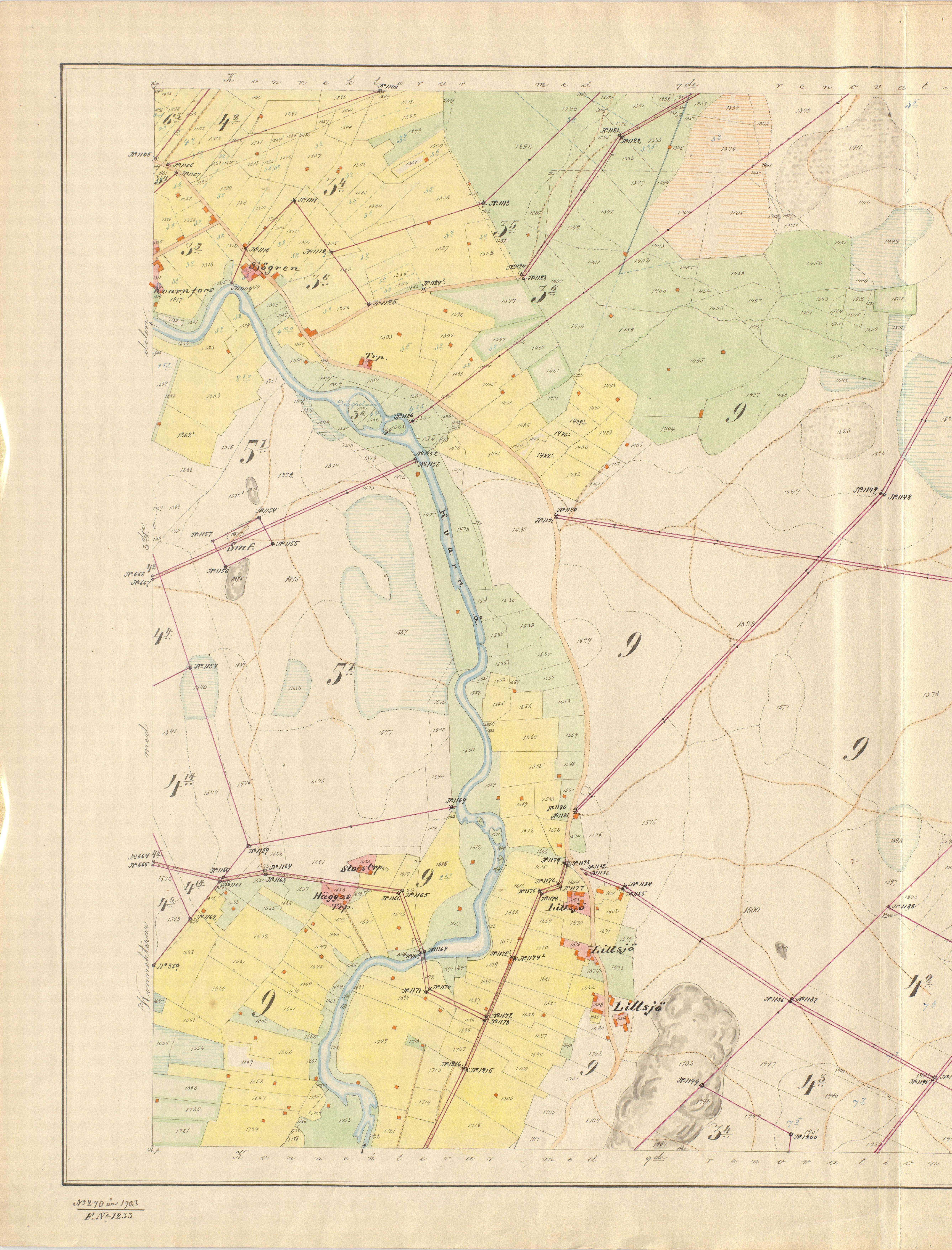 På detta kartblad av storskifteskartan, som ritades 1903, så ser vi både Kvarnå och norra delen av Lillsjö. Vissa vägar och broar som ritades in på kartan blev aldrig byggda.