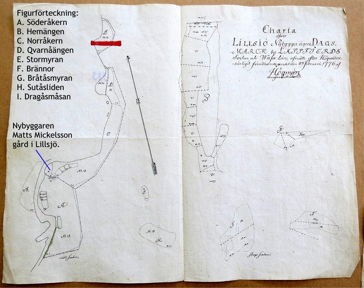 """På figuren till vänster så syns det var nybyggaren Matts Mickelsson byggde sin gård i slutet på 1700-talet. Kartan är ritad år 1776 av lantmätare Högman """"enligt Konungens Höga befallnings hafvandes utslag af den 6 april 1773."""