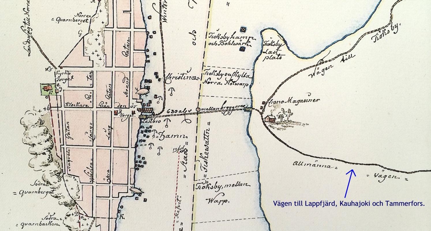 På kartan från 1748 så ser vi hur vägarna till och från Kristinestad gick den tiden. Den västra tullen låg lite norr om kyrkan medan den östra låg vid färjfästet vid Rådhustorget.