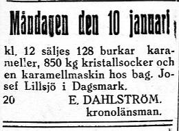 Lillsjö-Bagarin var en känd karamelltillverkare i Lillsjö men här vill länsmannen sälja hans maskin med tillbehör.