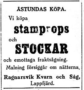 19270212 Ragnarsvik vill köpa stockar och stampropsar