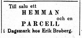 Erik Anders Broberg säljer ett hemman i februari 1927.