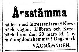19270316 Stämma för Lilldron, Korsbäckbron och vägen