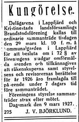 Lid-Viktor Björklund ledde den viktiga brandstodsföreningen.