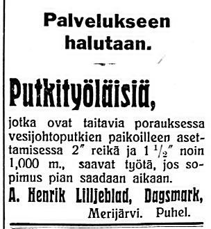 Henrik Liljeblad söker arbetare för att borra vattenledningar i mars 1927.