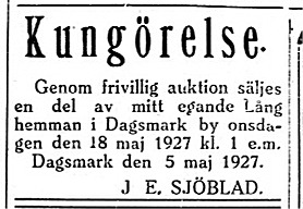 I maj 1927 sålde läraren Johannes Sjöblad ca 3 hektar av den övre delen av Lång hemman som har namnet Dragås åt bonden Emil Backlund och den mindre delen som har namnet Sjöbladas sålde han åt Viktor Söderqvist.